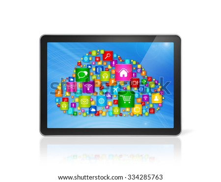 3D Digital Tablet pc and cloud computing symbol - isolated on white - stock photo