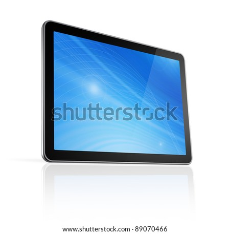 3D digital tablet pc, computer screen isolated on white - stock photo