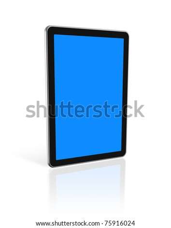 3D digital tablet pc, computer screen isolated on white. With 2 clipping paths : global scene clipping path and screens clipping path to place your designs or pictures - stock photo
