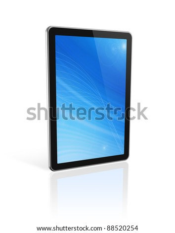 3D digital tablet pc, computer screen isolated on white. With 2 clipping paths : global scene clipping path and screen clipping path - stock photo