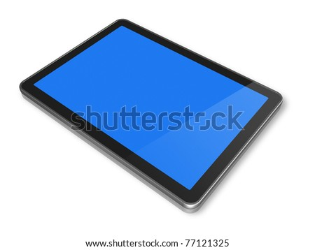 3D digital Tablet pc, isolated on white with clipping path - stock photo