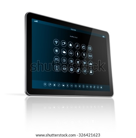 3D digital tablet pc with apps icons interface - isolated on white with clipping path - stock photo