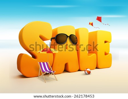3D Dimensional Sale Title Words for Summer in White Background with Flying Kites, umbrella, Chair, Beach Ball and Sunglasses in the Beach or Sea Shore Illustration - stock photo