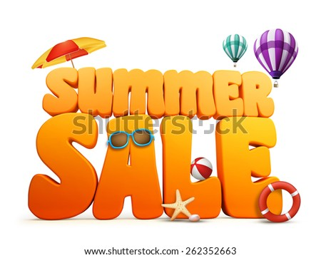 3D Dimensional Summer Sale Title Words in White Background with balloons flying, umbrella, Beach Ball, Sunglasses, Starfish and LifeBuoy Illustration - stock photo