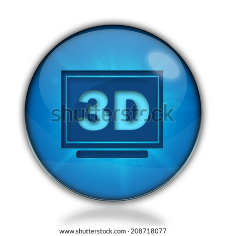 3d display blue glossy web icon - stock photo