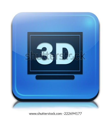 3d display icon. Glossy blue button. - stock photo