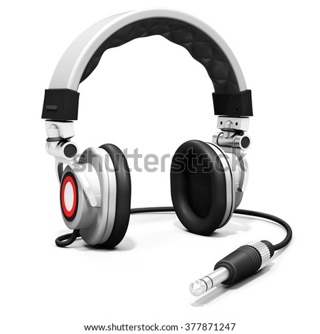 3d DJ headphones with audio jack on white background - stock photo