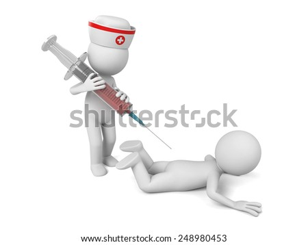 3d doctor inject vaccine to a sick person. 3d image. Isolated white background. - stock photo