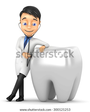 3d doctor with a stethoscope tooth analysis - stock photo