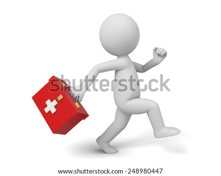 3d doctor with the first-aid set running. 3d image. Isolated white background. - stock photo