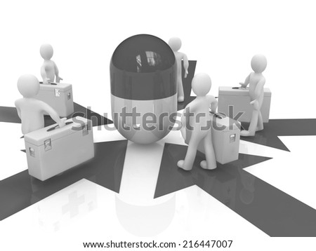 3d doctors around tablet on a white background - stock photo
