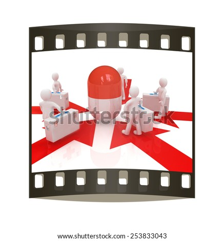 3d doctors around tablet on a white background. The film strip - stock photo