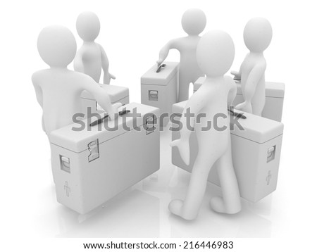 3d doctors on a white background - stock photo