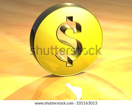3D Dolar Gold Sign over yellow background - stock photo