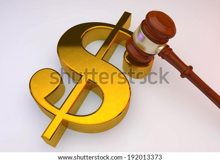 3d dollar golden sign with wooden Law gavel  - stock photo