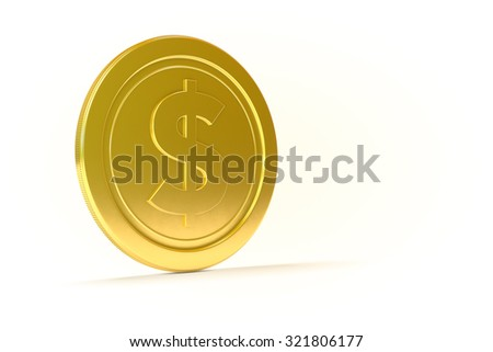 3D Dollar Isolated Coin. Money or Cash concept. - stock photo