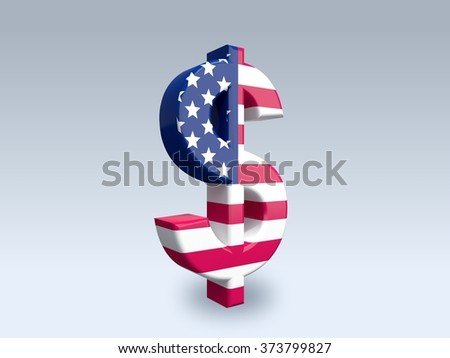 3D dollar sign (USD) isolated on white background. The icon is covered with a flag of United States. - stock photo