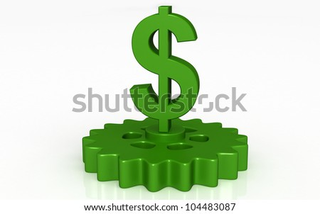 3D dollar with gears concept - stock photo