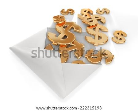 3d dollars in envelope. - stock photo