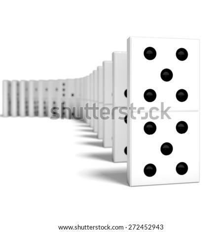 3D. Domino, Continuity, Black. - stock photo