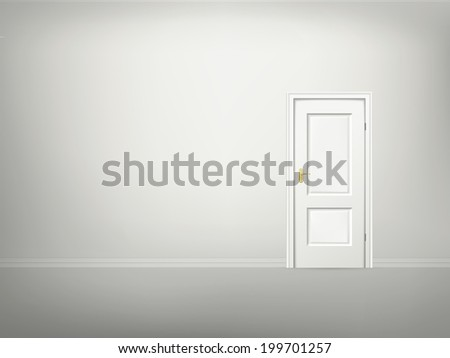 3d door and wall blank template - stock photo