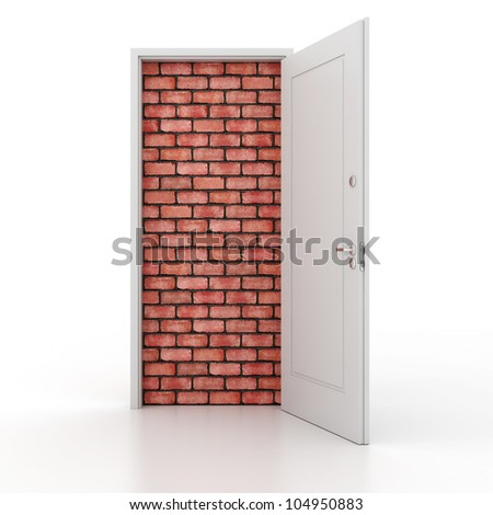3d door no way out - stock photo