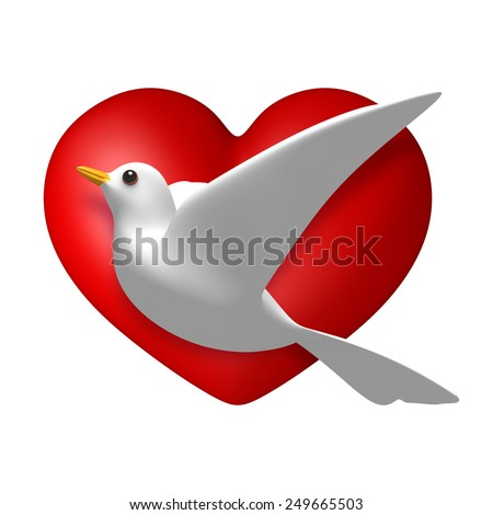 3D Dove with heart sings and symbols, isolated - stock photo