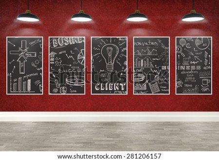 3d drawing business concept on posters in room - stock photo