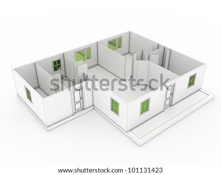 3d drawing of a building on a white background ?2 - stock photo