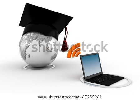 3d e-learning concept - stock photo