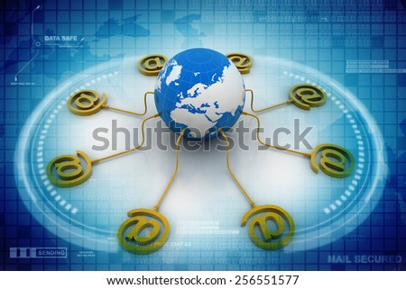 3d e-mail sign with globe icon - stock photo