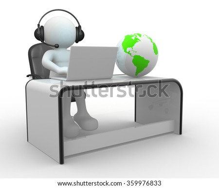 3d Earth globe and a person with headphones and laptop at a office. 3d render  - stock photo
