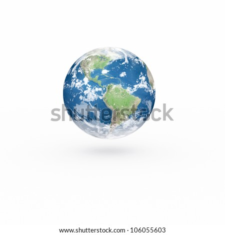 3D Earth model on white background with shadow. Elements of this image furnished by NASA. - stock photo