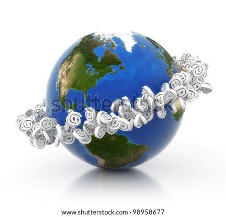 3D earth with e-mail ring isolated on mirror floor. Elements of this image furnished by NASA - stock photo