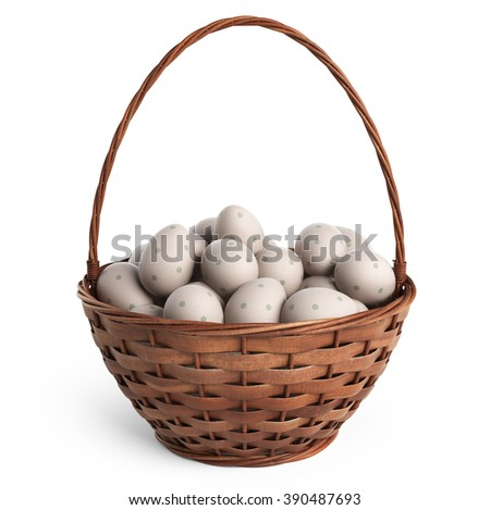 3D Easter basket filled with colorful eggs. Isolated on white background - stock photo