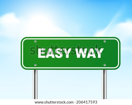 3d easy way road sign isolated on blue background - stock photo