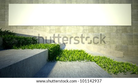 3d ecology concept, green grass on stairs and blank street advertising billboard - stock photo