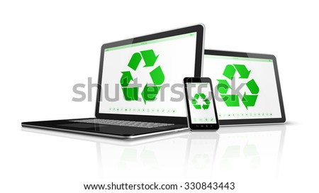 3D Electronic devices with a recycling symbol on screen. environmental conservation concept - stock photo