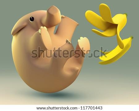 3D elephant slipped by a banana - stock photo