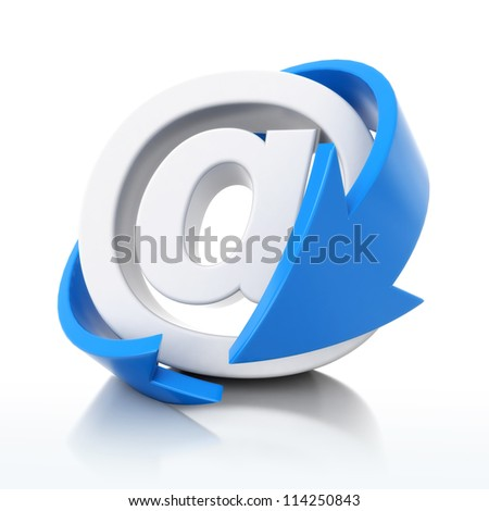 3d email icon with blue arrow - stock photo