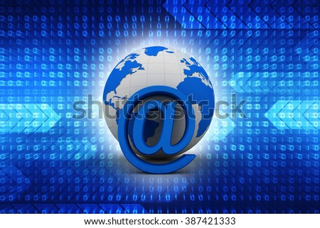 3d email sign with globe - stock photo
