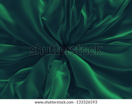 3d emerald green folds, textile background - stock photo