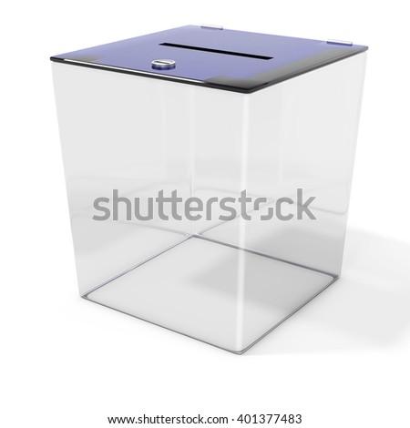 3d empty ballot box vote on white background 3D illustration - stock photo