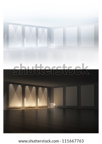 3D empty frames in a gallery room. 3d render. Night and day variations - stock photo