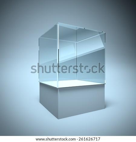 3d Empty glass showcase box for exhibit and presentation - stock photo