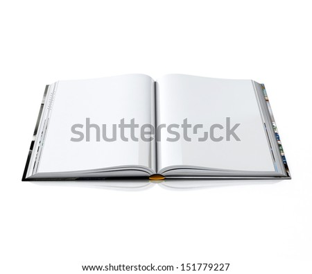 3d empty opened book with hardcovers, isolated on white background - stock photo