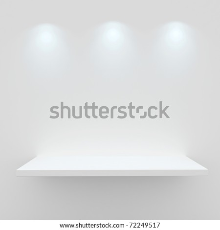 3d Empty shelf for exhibit isolated on white - stock photo