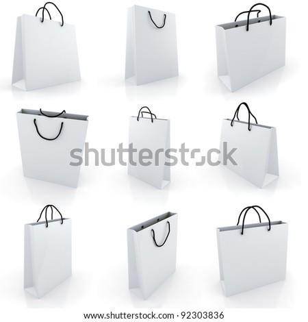 3d empty shopping bag, on white background - stock photo