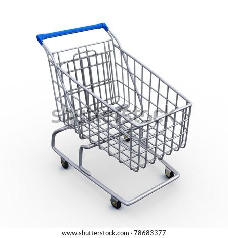3D empty shopping cart - stock photo