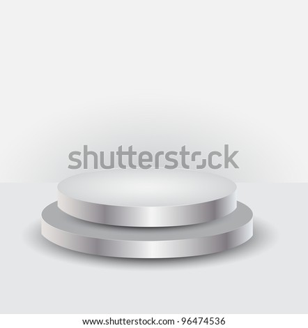 3d Empty white podium for your exhibit, illustration - stock photo